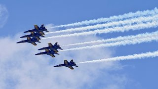 U.S. Navy Blue Angels fly over Miami to pay tribute to the frontline workers fighting COVID-19