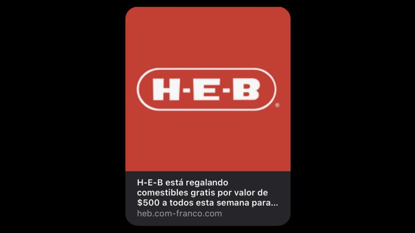 Cupón fraudulento de H-E-B