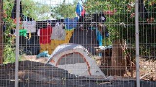 Campamento de migrantes en Matamoros
