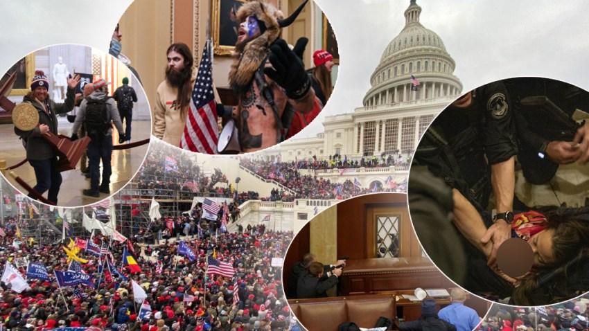 Imágenes de manifestantes irrumpiendo en el Capitolio de EEUU el 6 de enero de 2021.