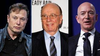 (L-R) Elon Musk, Rupert Murdoch and Jeff Bezos