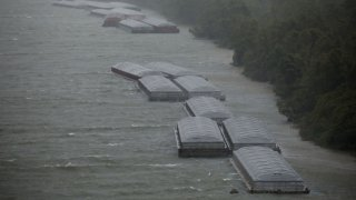 Barges docked on the Mississippi River