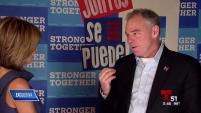 El candidato demócrata a vicepresidente habló sobre temas cubanos