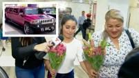 Chambelanes, flores, una limusina rosada y periodistas la recibieron en el aeropuerto de la Ciudad de México.