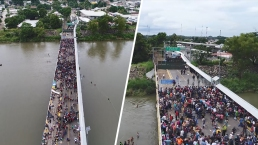 Dron capta impresionantes imágenes aéreas de la caravana de migrantes