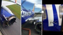 Terror en el aire: explota motor de avión de pasajeros en pleno vuelo
