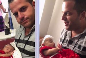 Padre cubano conoce a su bebé tras llegar a Miami