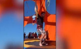 Joven sufre dramático accidente en trampolín de crucero