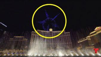 Drones luminosos vuelan al ritmo de famosas fuentes danzantes