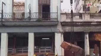 Derrumbe en La Habana tras mal tiempo