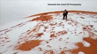 Nieva en el desierto del Sahara