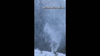 Graban impresionante tornado de nieve en Polonia