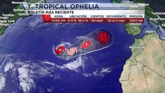 La Tormenta Tropical Ophelia en el Atlántico