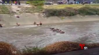 Venezolanos buscan objetos de valor en un río cloaca