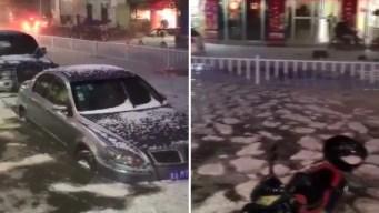 """En video: miles de """"glaciares"""" flotan por calle inundada"""