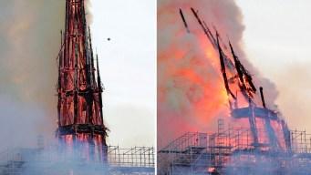 Video: el momento más dramático del incendio en Notre Dame