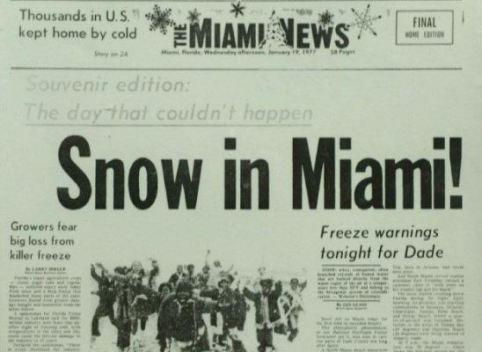Cae nieve en Miami... un día como hoy de 1977