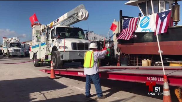 [TLMD - MIA] Camiones de la FPL rumbo a Puerto Rico