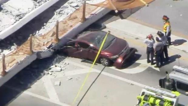 [TLMD - MIA] Imágenes aéreas de puente peatonal de FIU desplomado