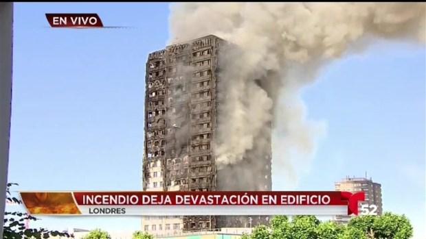 Pavoroso incendio en edificio de Londres