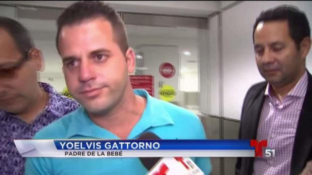 Llega a Miami padre de bebé cuya madre murió