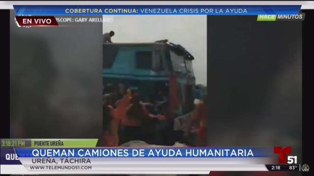 [TLMD - MIA] Queman camiones con ayuda humanitaria para Venezuela