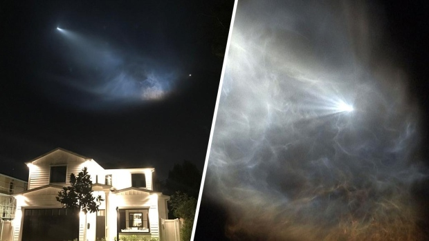 Cohete Falcon 9 ilumina el cielo del Sur de California