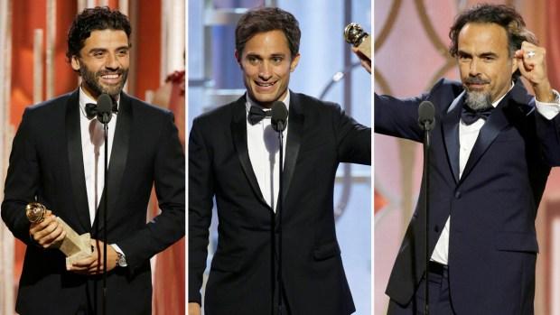 Tres hispanos se elevan en los Globos de Oro