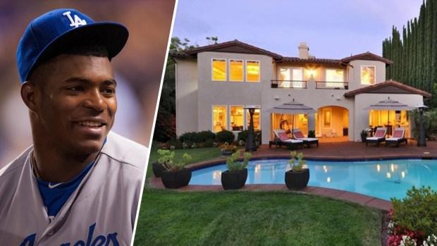 Estrella de Los Dodgers Yasiel Puig se muda a su casa millonaria en Encino