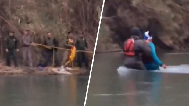 [TLMD - LV] Rescatan a familia de migrantes tras quedar atrapada en islote en medio del Río Grande
