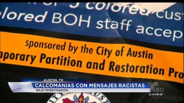 Video: Aparecen calcomanías racistas en negocios