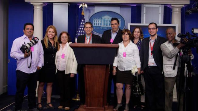 Periodistas oficialistas de Cuba en la Casa Blanca