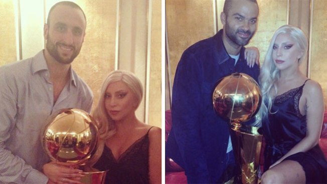 Lady Gaga de fiesta con los Spurs