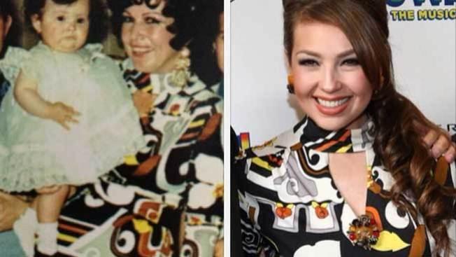 Thalía presume singular vestido