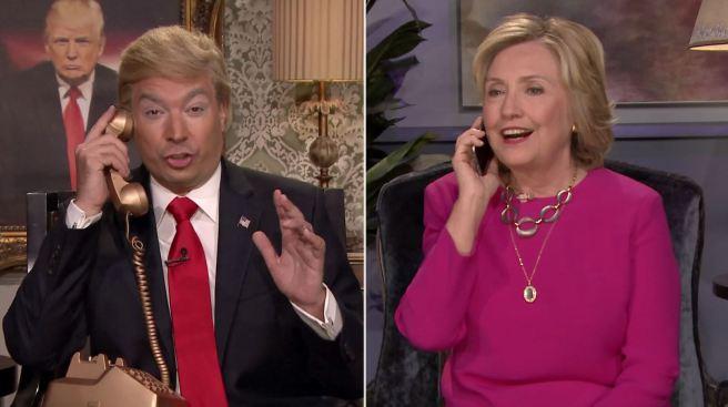 Jimmy Fallon y Hillary Clinton parodian a Trump